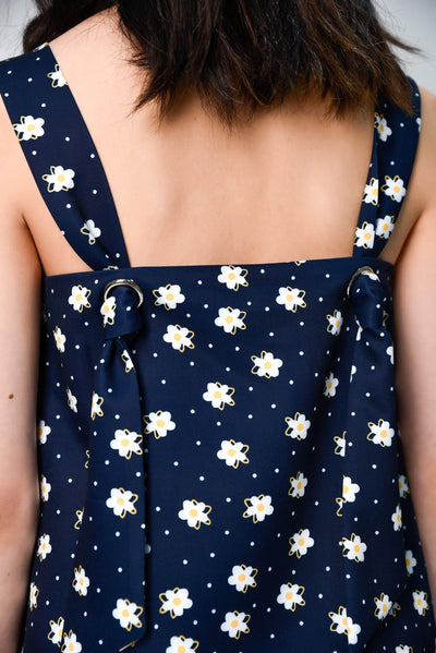 AWE Tops HANA NAVY FLORAL KNOTTED TOP
