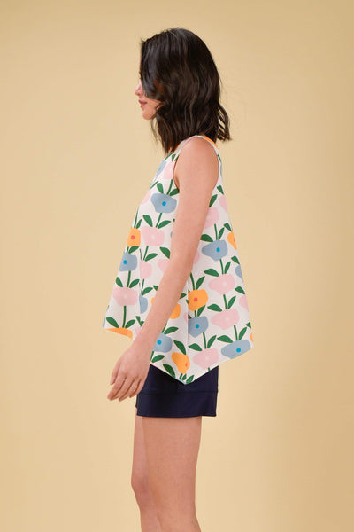 AWE Tops HAPPY ASYMMETRICAL TOP IN BLOSSOMS