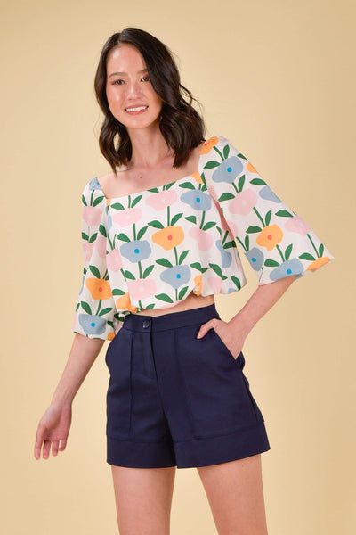 AWE Tops HAPPY PUFF-SLEEVES TOP IN BLOSSOMS