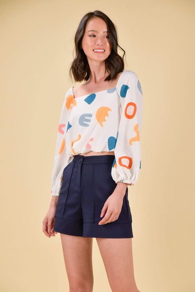 AWE Tops HAPPY PUFF-SLEEVES TOP IN SHAPES