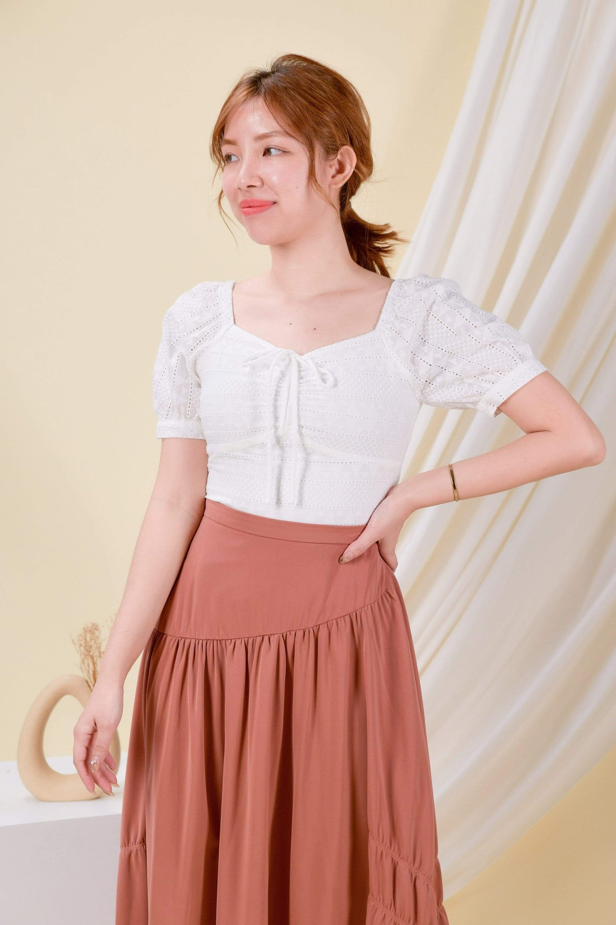 AWE Tops JANAE EYELET TOP IN WHITE