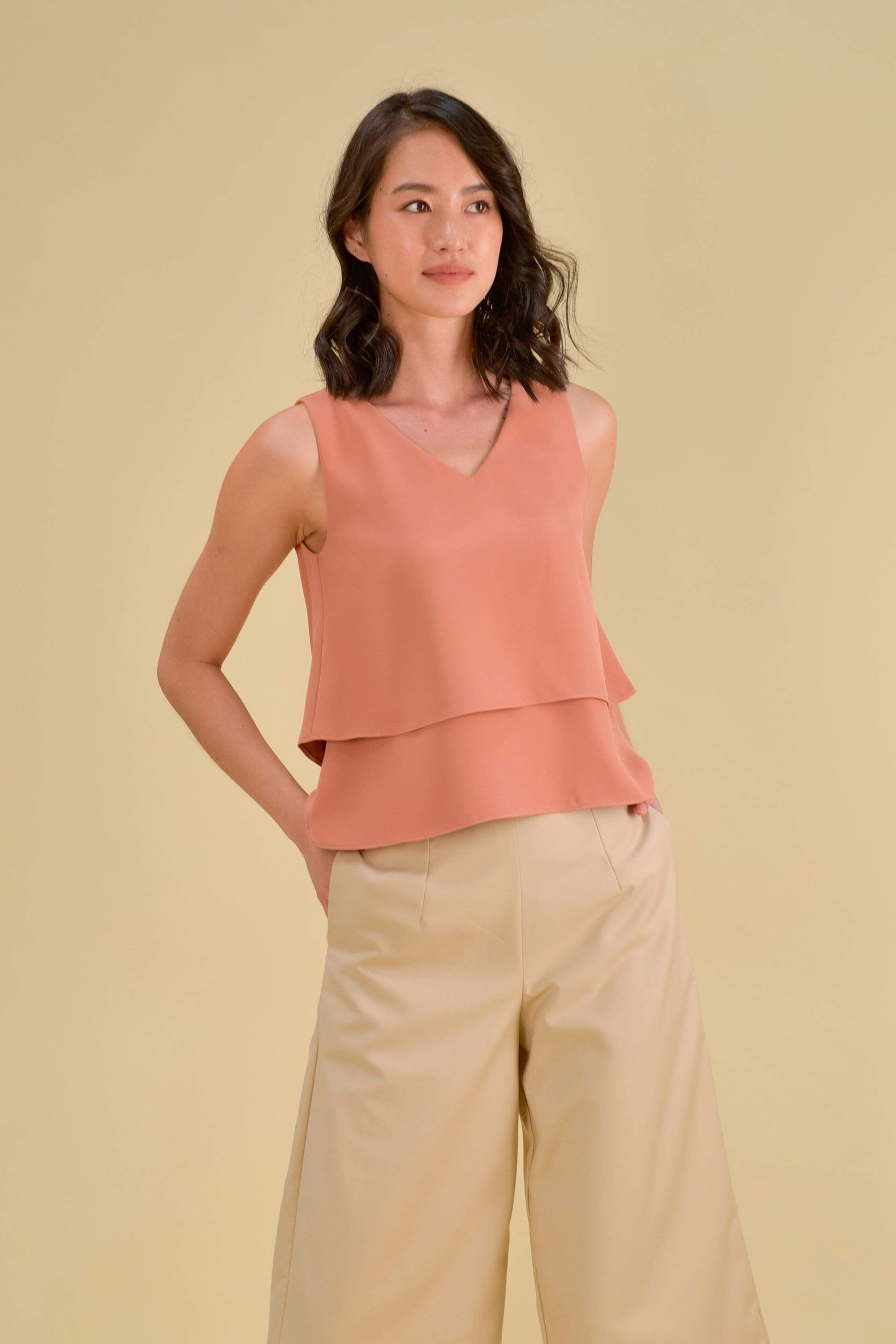 JANELLE TIERED TOP IN APRICOT