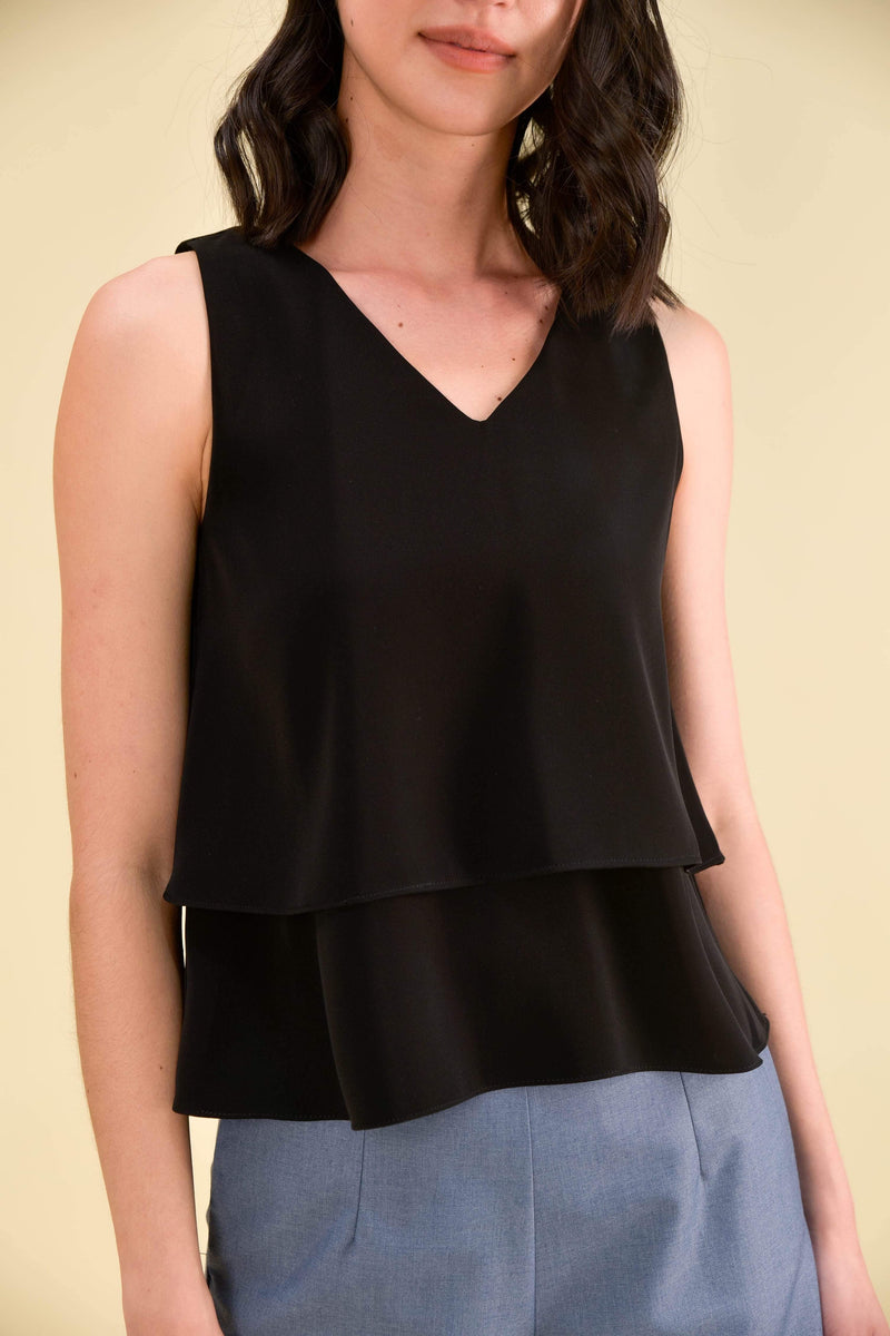 AWE Tops JANELLE TIERED TOP IN BLACK