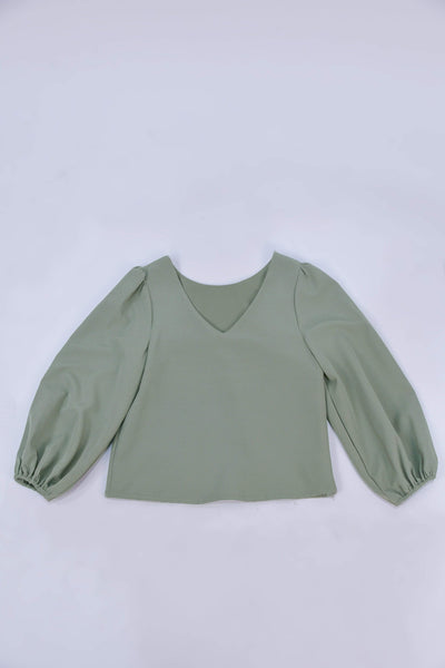 AWE Tops JANICKA TWO-WAY BALLOON SLEEVED TOP IN SAGE GREEN