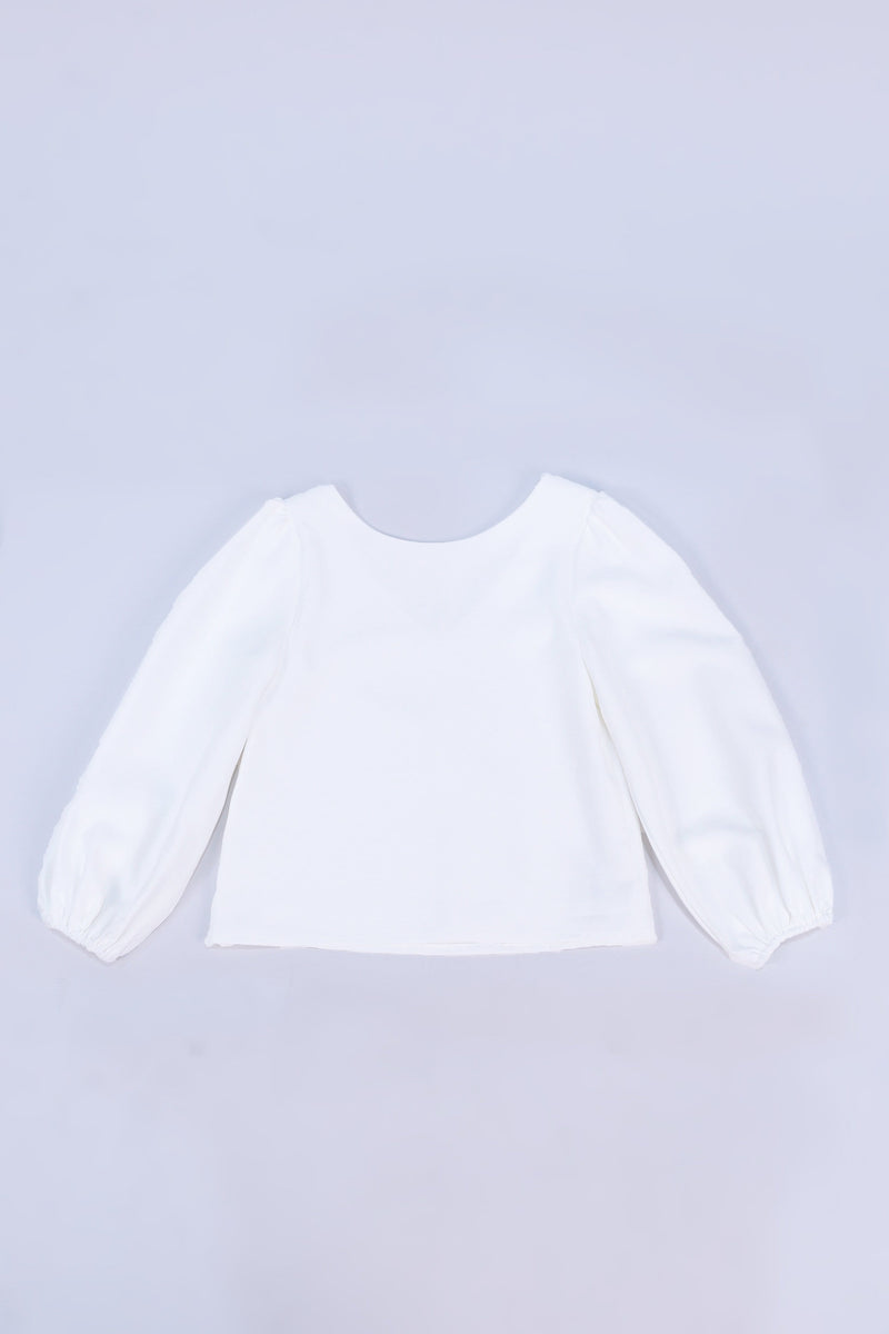 JANICKA TWO-WAY BALLOON SLEEVED TOP IN WHITE