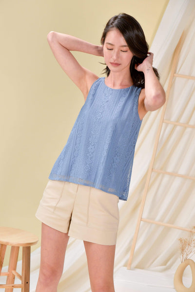 AWE Tops LACE TWO-WAY TANK TOP IN BLUE