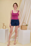 AWE Tops MAVIS RUCHED TOP IN FUCHSIA