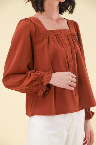 AWE Tops MICHELLE BUTTON TOP IN RUST