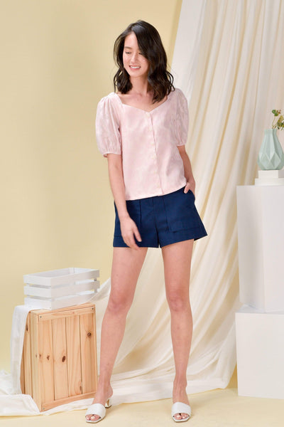 AWE Tops ORGANZA PUFF-SLEEVE TOP IN PINK
