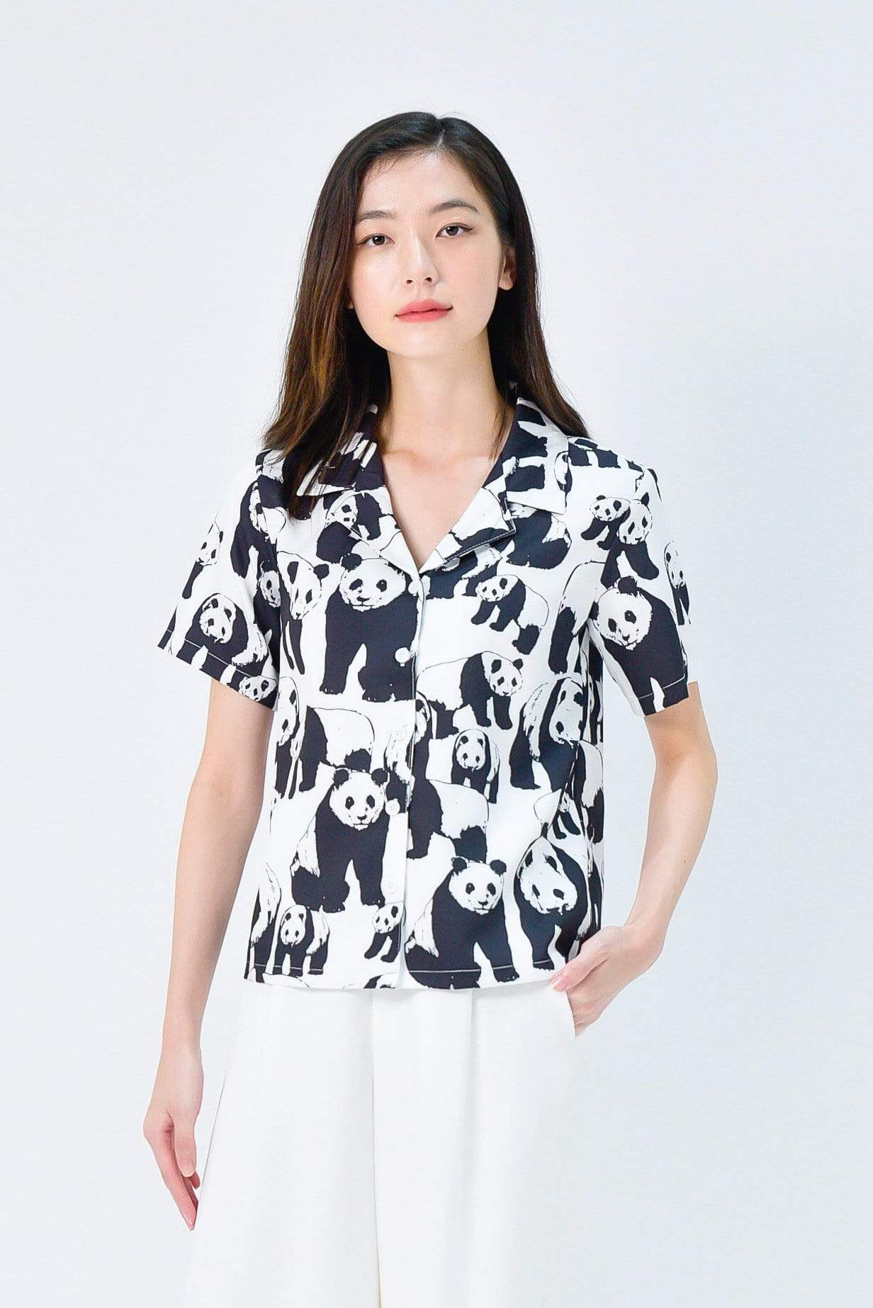 PANDA CAMP-COLLARED SHIRT IN BLACK