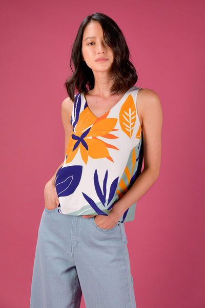 AWE Tops RAINFOREST TWO-WAY TANK TOP IN BEGONIA