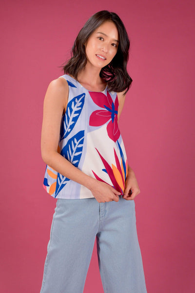 AWE Tops RAINFOREST TWO-WAY TANK TOP IN RAFFLESIA