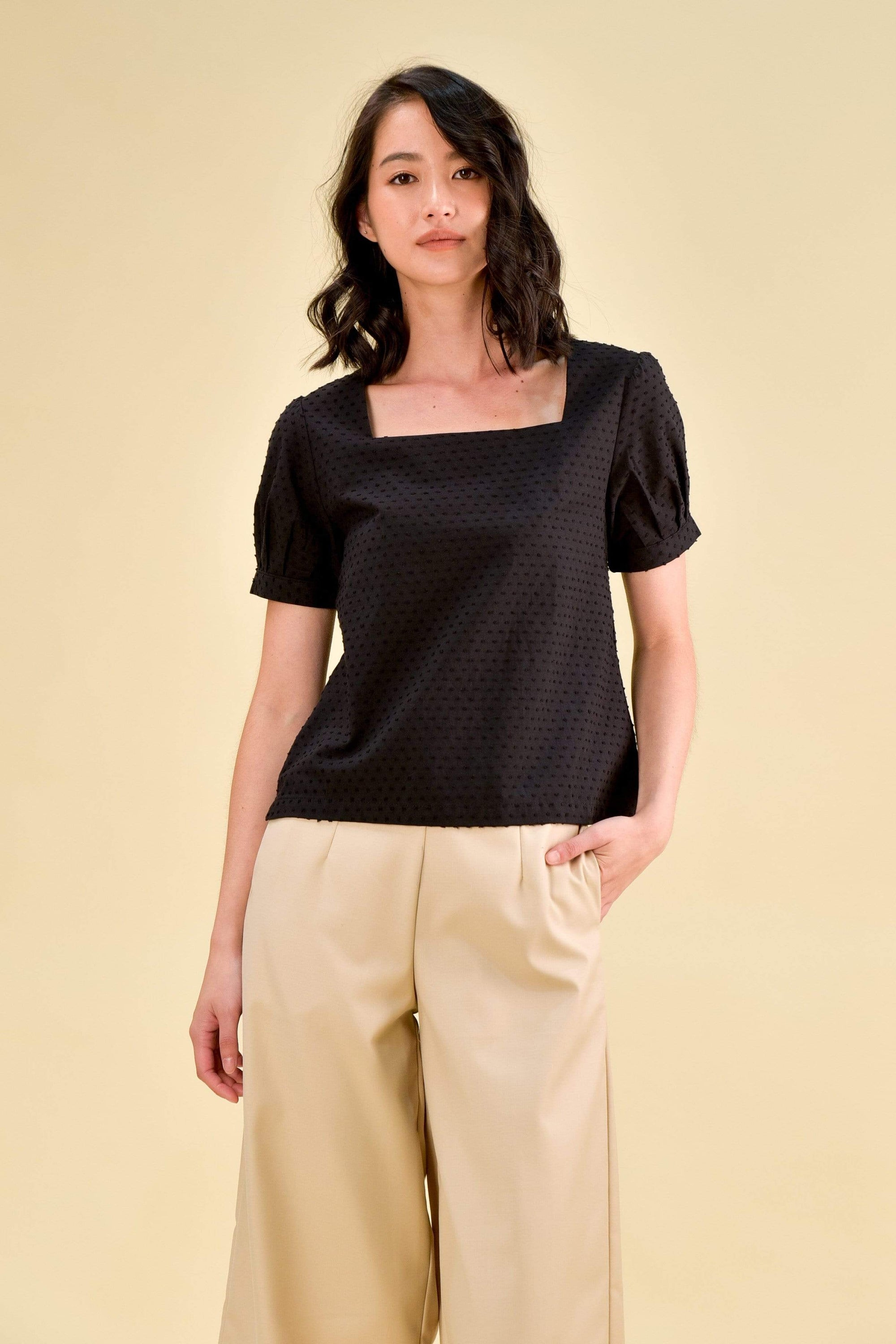 RENEE SLEEVED SWISS-DOT TOP IN BLACK