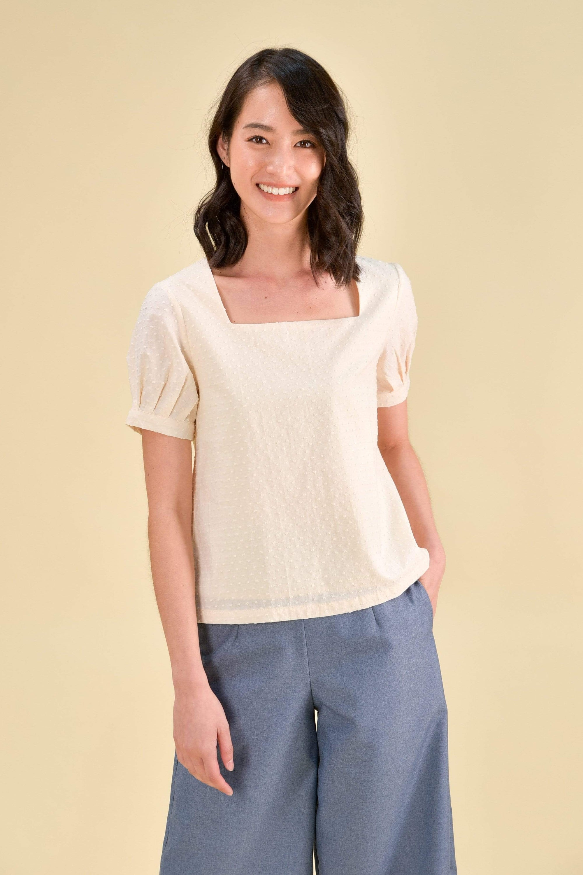 RENEE SLEEVED SWISS-DOT TOP IN CREAM