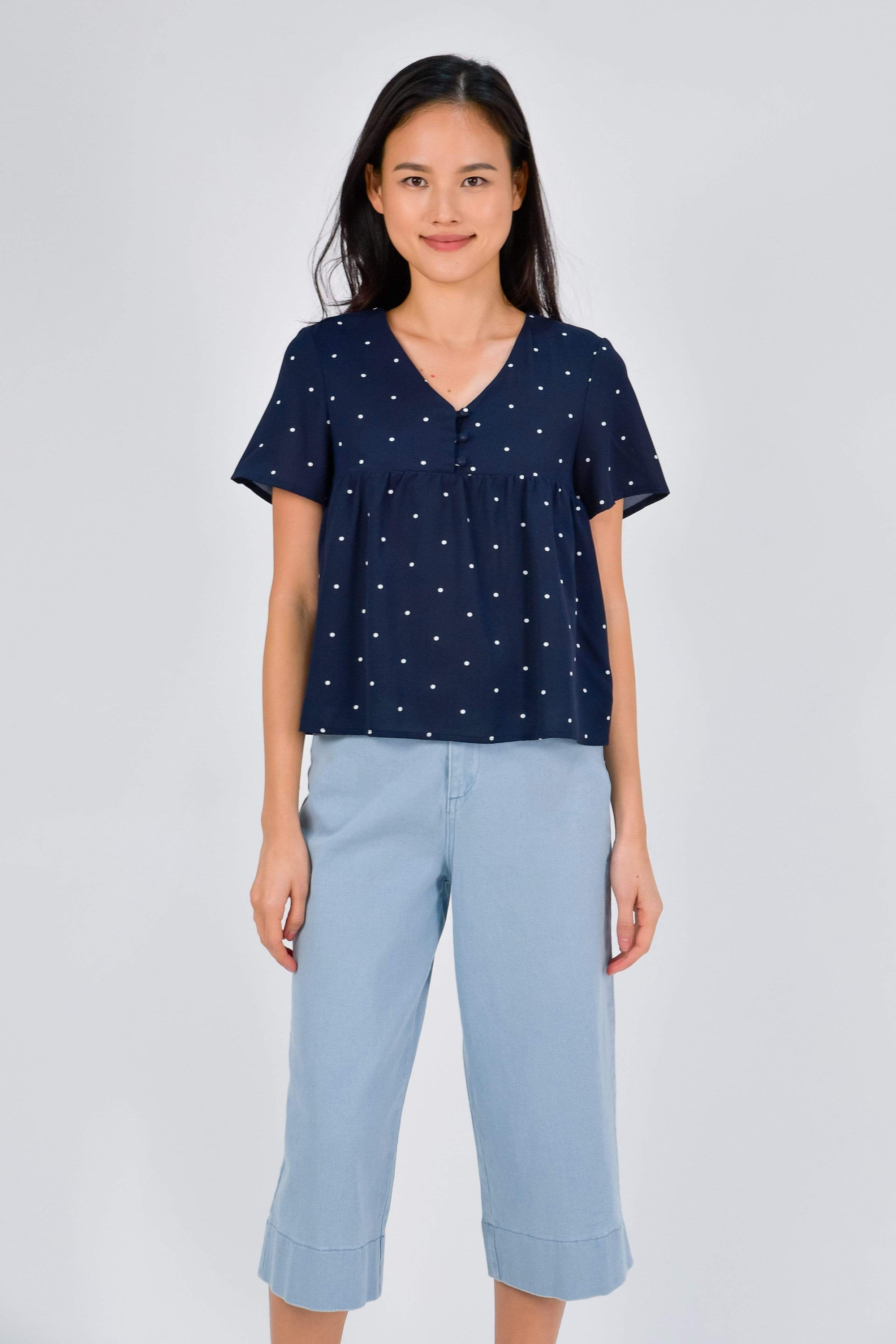 RILEY NAVY POLKA DOT SLEEVED TOP