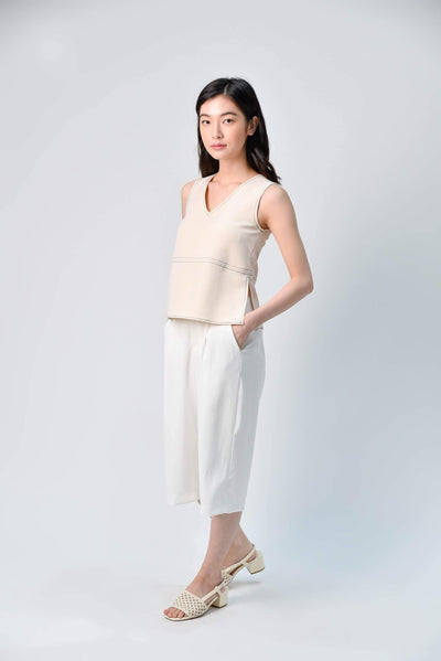 AWE Tops STITCHED SIDE-SLIT TOP IN BEIGE
