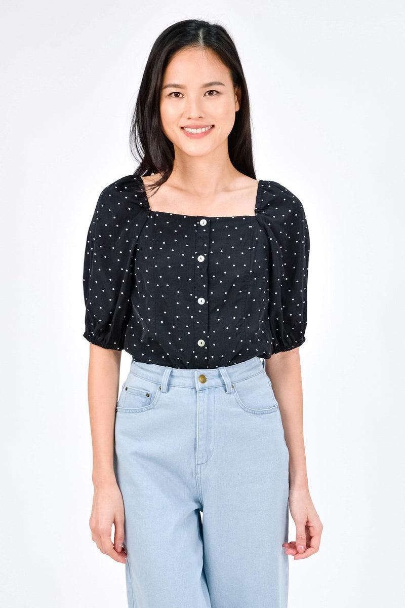 TEAGAN BLACK POLKA DOT PUFF-SLEEVE TOP