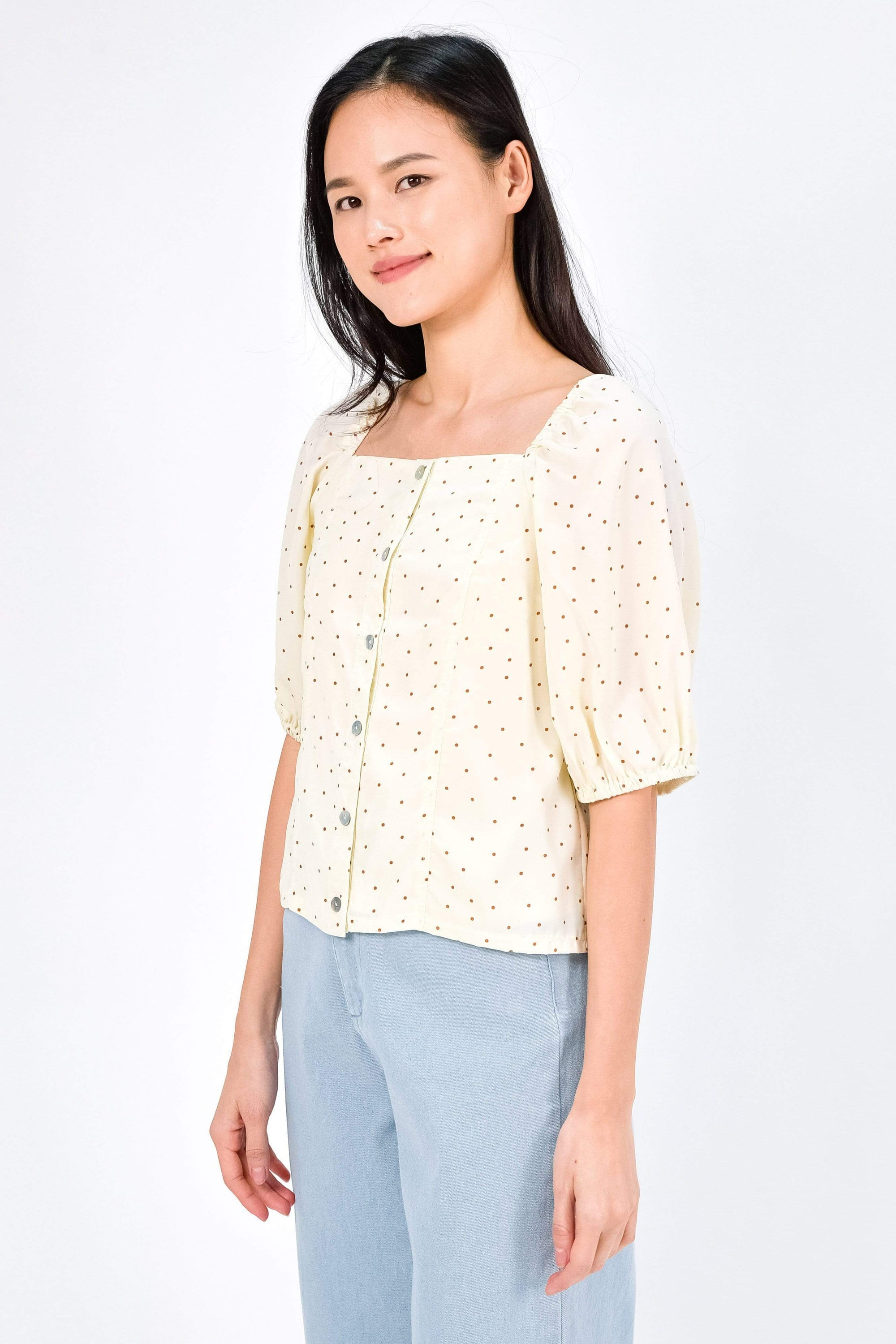 TEAGAN CREAM POLKA DOT PUFF-SLEEVE TOP