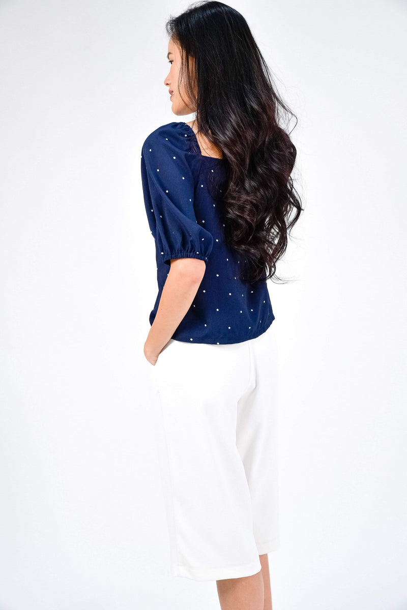 TEAGAN NAVY POLKA DOT PUFF-SLEEVE TOP