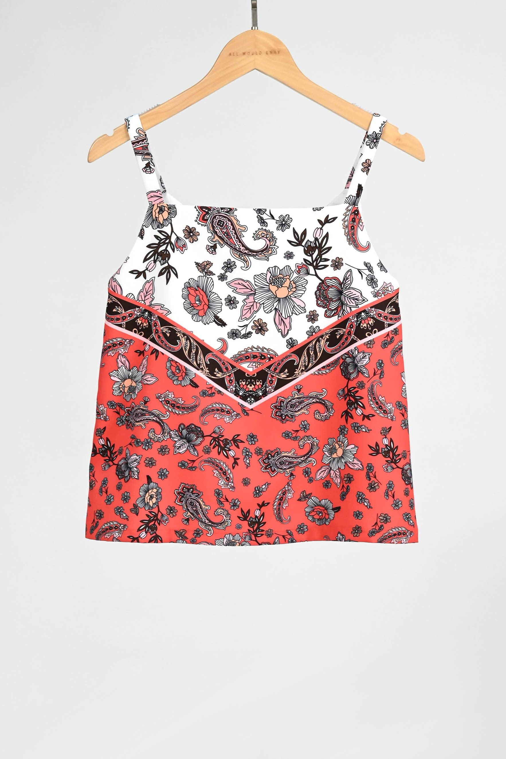 TORI CORAL PAISLEY TWO-WAY TOP