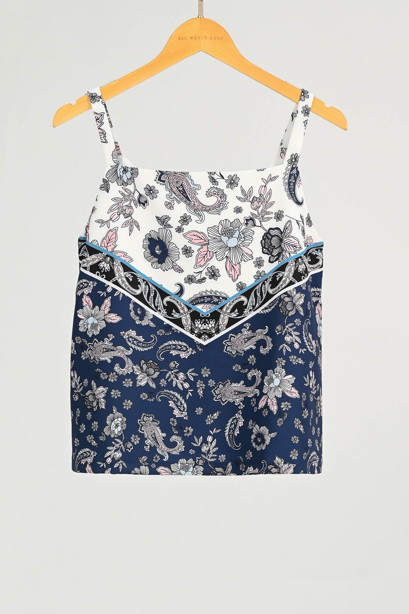 TORI NAVY PAISLEY TWO-WAY TOP
