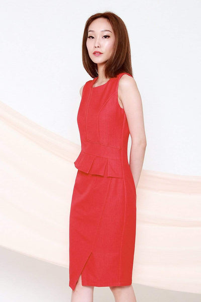 Struck Dresses YVESSA RED DENIM PEPLUM DRESS