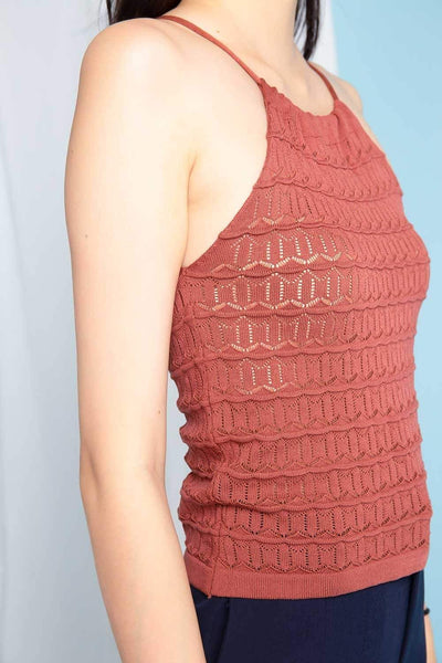 Struck Tops FS MYNDY RUST EYELET KNIT TOP