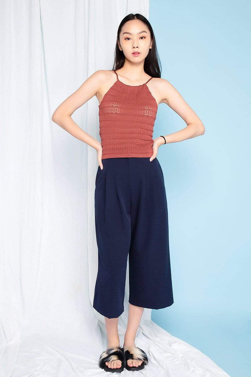 MYNDY RUST EYELET KNIT TOP