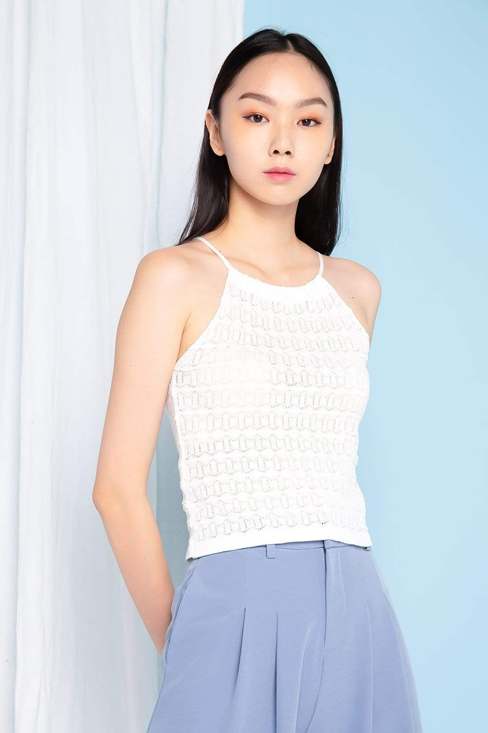 Struck Tops FS MYNDY WHITE EYELET KNIT TOP