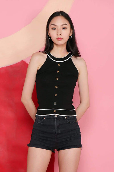 Struck Tops FS TEGAN BLACK BUTTONED KNIT TOP