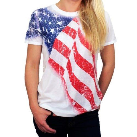 Scoop Neck White American Flag T-Shirt with Sequins
