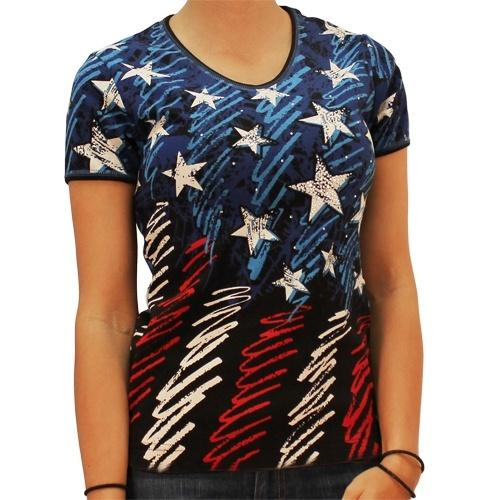 Ladies Flag Sketch Tee w Rhinestones