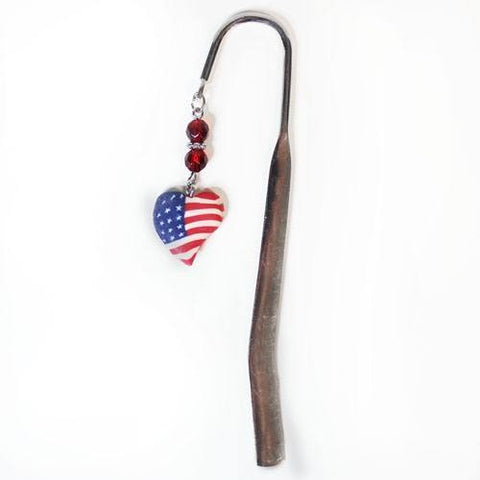 Patriotic Clay Heart Bookmark