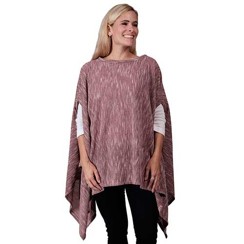 Le Moda Ladies Poncho with ethereal sleeves - One size at Linda Anderson. color_berry