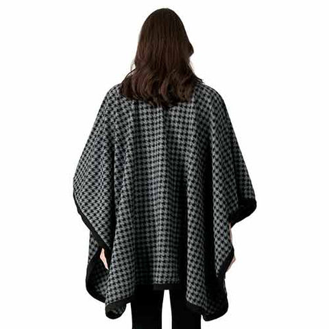 Black & Grey Check Fleece Knit Cape