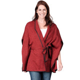 Le Moda Faux Wool Cape with Belt Closure - One Size