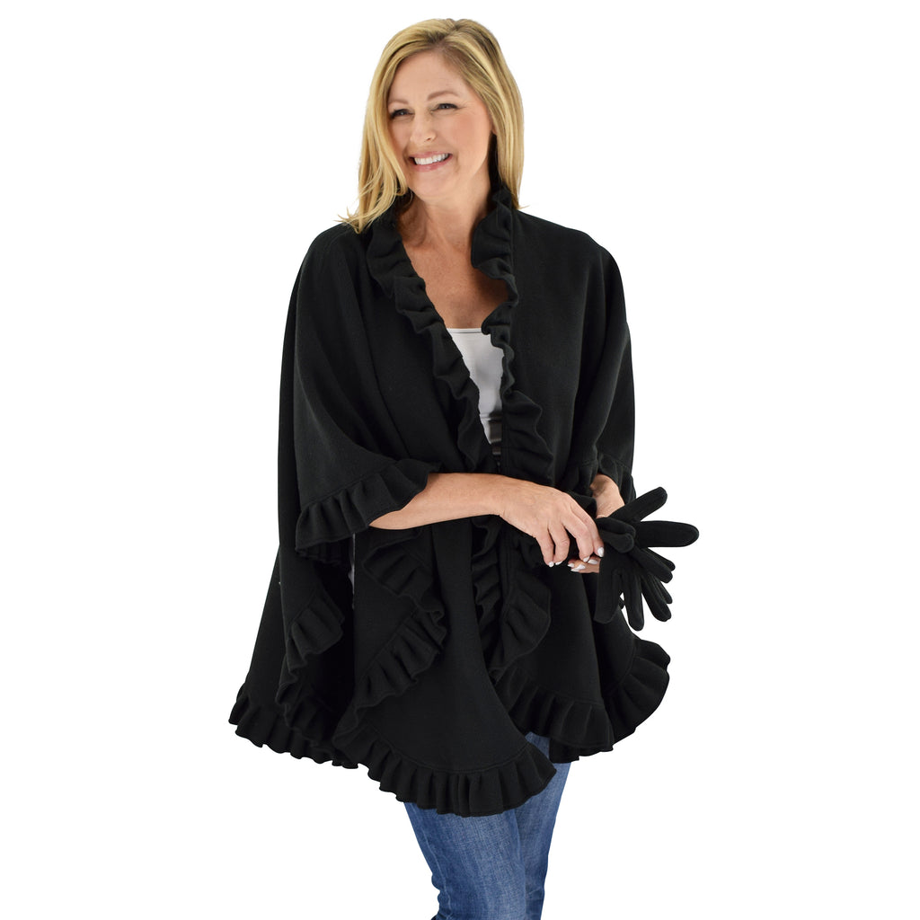 Le Moda Women's Frilled Solid Color Fleece Poncho Shawl with Matching Gloves