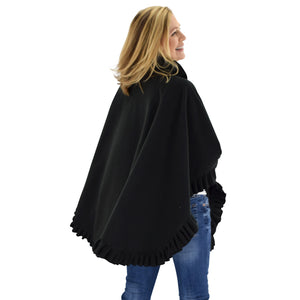 Le Moda Women's Frilled Solid Color Fleece Poncho Shawl with Matching Gloves at Linda Anderson. color_black