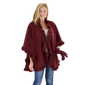Le Moda Women's Frilled Solid Color Fleece Poncho Shawl with Matching Gloves at Linda Anderson. color_burgundy