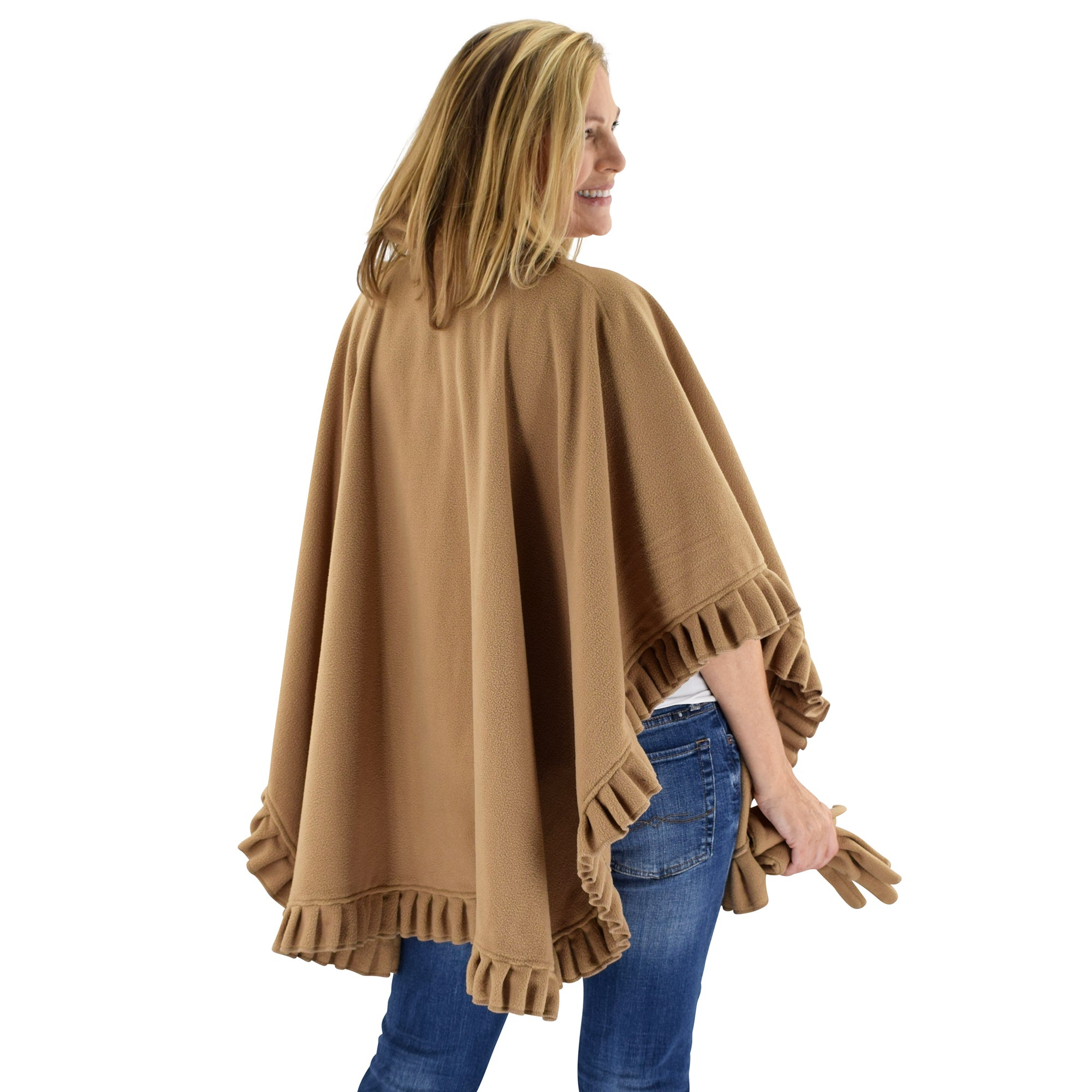 Le Moda Women's Frilled Solid Color Fleece Poncho Shawl with Matching Gloves at Linda Anderson. color_camel