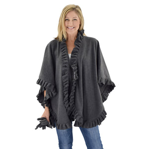 Le Moda Women's Frilled Solid Color Fleece Poncho Shawl with Matching Gloves at Linda Anderson. color_charcoal