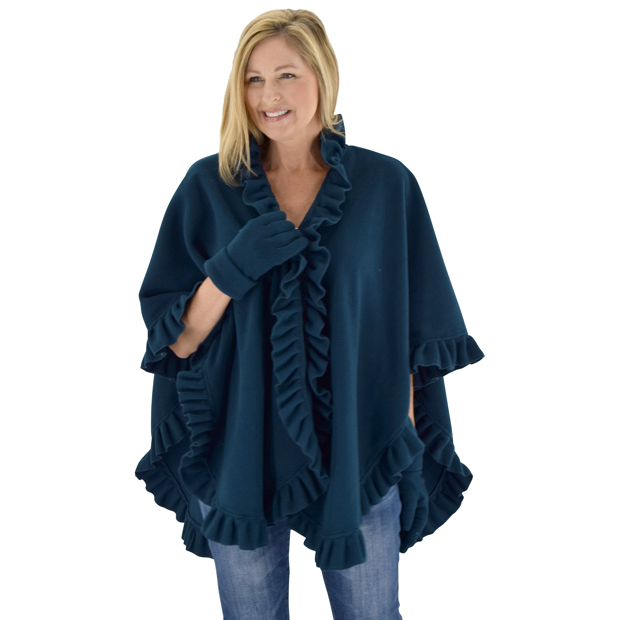 Le Moda Women's Frilled Solid Color Fleece Poncho Shawl with Matching Gloves at Linda Anderson. color_teal