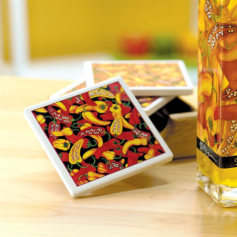 Chili Peppers Stone Coasters Set