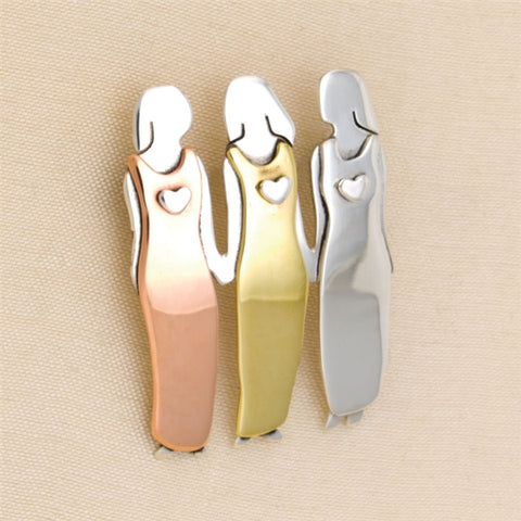 Three Sisters Pin in Sterling Silver, Copper & Brass (NB)