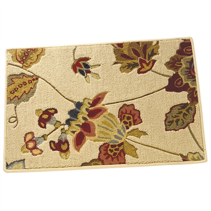 Lotus Flowers on Beige Sculpted Rug