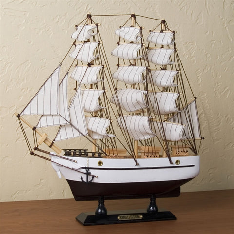 Wooden Sailing Ship Model & Music Box