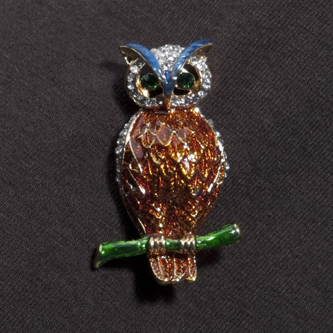 Crystal and Enamel Owl Pin (NB)