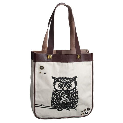 Glam Owl Canvas Tote