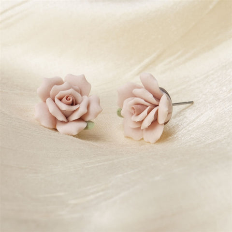 Blush Pink Roses Earrings (NB)