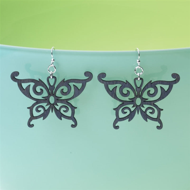 Laser-Cut Wood Butterfly Earrings (NB)